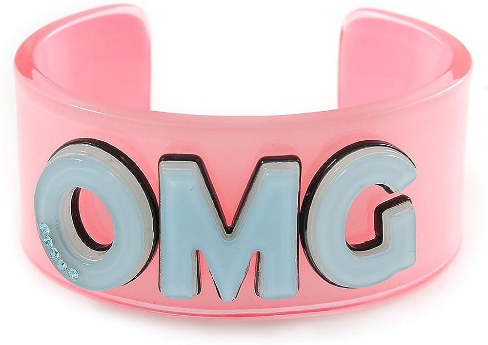 Avalaya Light Pink/Pale Blue 'OMG' Acrylic Cuff Bracelet Bangle (Kids/Teen Size) - 16cm L