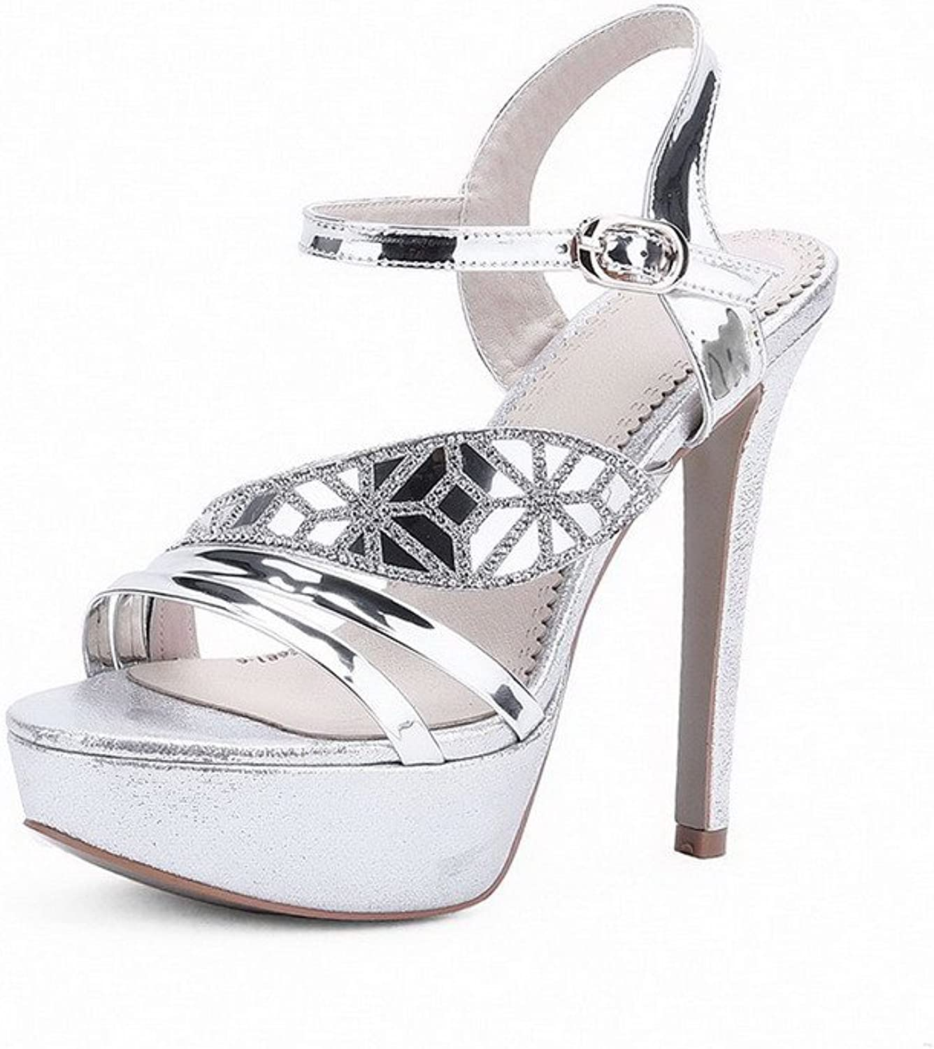 AmoonyFashion Women's Spikes-Stilettos Patent Leather Solid Buckle Open Toe Sandals