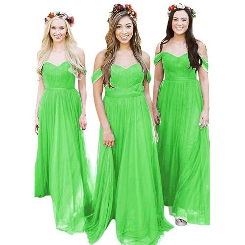 0bcdf0f9d2 Fanciest Women s Off The Shoulder Tulle Long Bridesmaid Dresses 2018  Wedding Party Dress