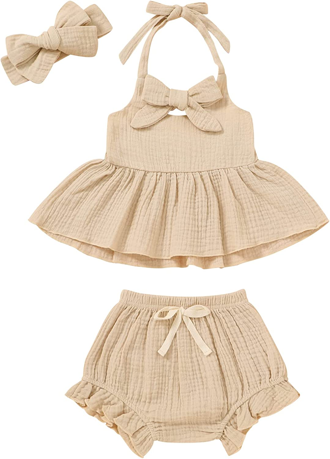 3PCS Newborn Toddler Baby Girl Ruffles Crop Tops Set Clothes Bloomers Shorts Summer Outfit with Headband