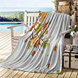 ERshuo Fall Decorations Camping Blanket,Fall Image with Canadian Maple Leaves Botanical Warm To Cold Effects,Sofa Sleeper Queen Yellow Orange 50'x60' 48x60IN