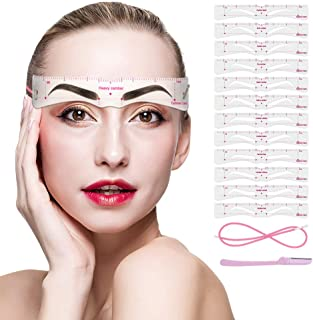 Eyebrow Stencils, 12PCS Eyebrow Shaper Kit, Reusable Eyebrow Template with Strap, Eyebrow Razor,3 Minutes Makeup Tools For...