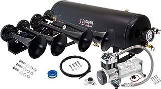 Vixen Horns Train Horn Kit for Trucks/Car/Semi. Complete Onboard System- 200psi Air Compressor, 2.5 Gallon Tank, 4 Trumpets. Super Loud dB. Fits Vehicles Like Pickup/Jeep/RV/SUV 12v VXO8325/4124B
