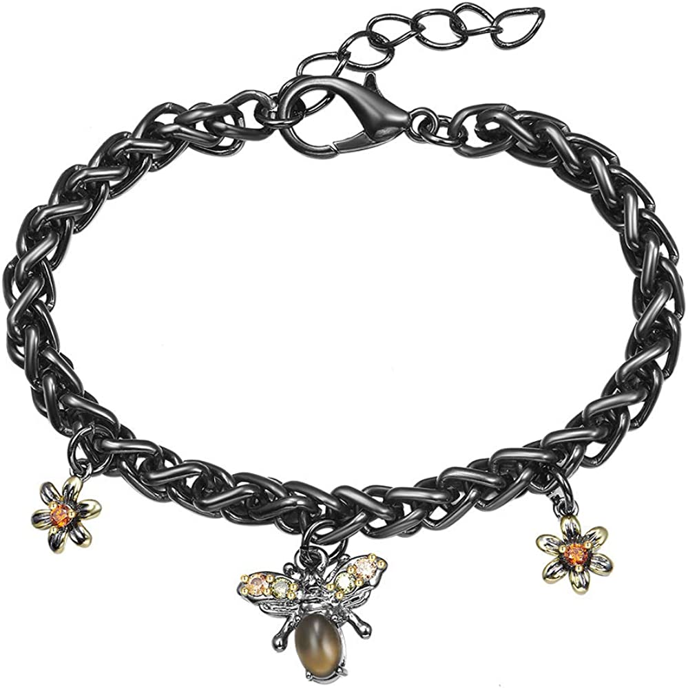 YLMyself Brass Link Chain Bracelet Lovely Animal Brown Cateye Stone 2 Tone Plate Female Jewelry
