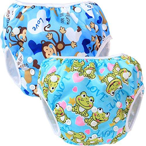 Teamoy 2-teilig Baby Schwimmhose Badewindelhose Badehose (Monkeys Blue+ Frogs)