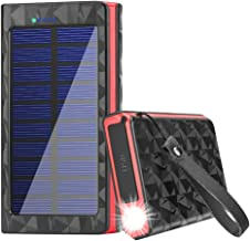 Portable Solar Cell Phone Chargers Power Bank 20000mAh Battery with LED and Fast Charge USB Output Ports, External Batteries Pack Solar Panel Charger for Camping Outdoor Activities