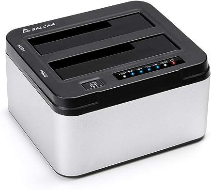 SALCAR USB 3.0 Non in Linea Clone Docking Station 2-bay ottimizzato per Hard Disk HDD/SSD da 2,5 e 3,5 Pollici (SATA I/II/III), compreso Il Cavo USB 3.0 e 12V PSU 3A, 2 x 10 TB Aluminum (Argento)