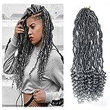 6Packs 18' Goddess Locs Crochet Braids Grey Wavy Faux Locs Crochet Hair Curly Ends Dreadlocks Synthetic Braiding Hair Extensions (18' 6Packs, Grey)