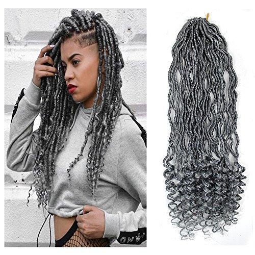 "6Packs Goddess Locs Crochet Braids Gray Wavy Faux Locs Crochet Hair Curly Ends Dreadlocks Synthetic Braiding Hair Extensions (18"" 6Packs, 51)"