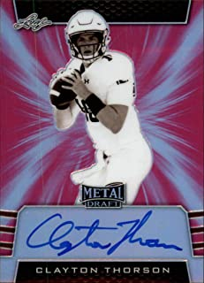 2019 Leaf Metal Draft Autograph Pink Football #SV-CT1 Clayton Thorson SEPIA SER20 Northwestern Wildcats ON CARD Rookie RC AUTO Licensed Trading Card