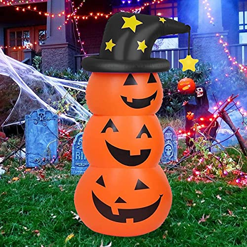 Halloween Inflatable Decorations-4.6ft Pumpkin Ghost with LED Light, Halloween Blow Up Yard Decorations, Holiday Inflatable Decoration for Halloween Party Indoor, Outdoor, Garden, Family, Lawn Décor