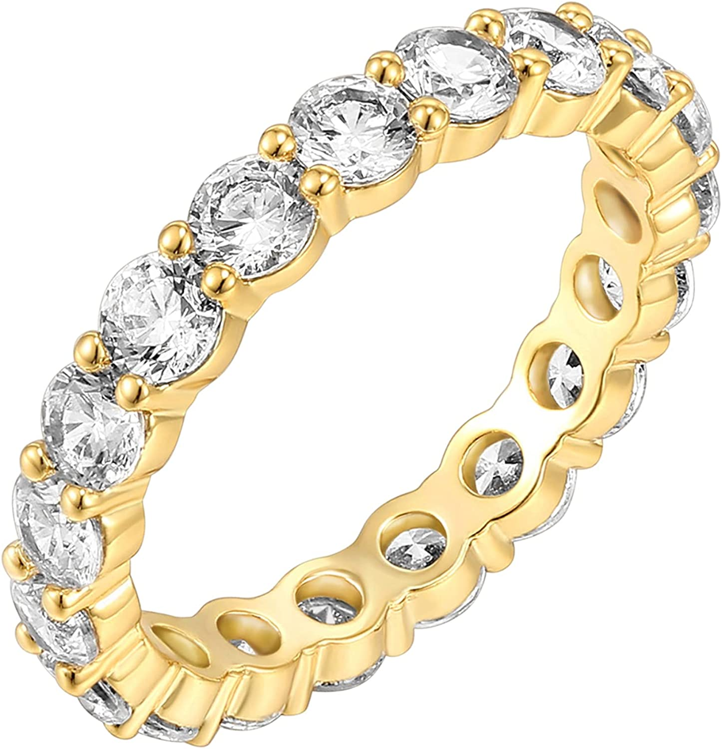 PAVOI 14K Gold Plated Cubic Zirconia Rings | 3.0mm Eternity Bands | Gold Rings for Women