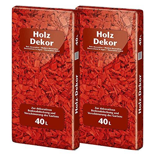 Floragard Mulch Universal Holzdekor rot 2 x 40 L Rindenmulch zum Abdecken
