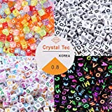 KAIMIRUI 800 Piezas Cuentas del Alfabeto MulticolorMezclado Redondo Acrílico Cuentas de Letras Redonda de Corazón de Amor,Con Cuerda de Cristal para Pulseras DIY Manualidades (4-colors)