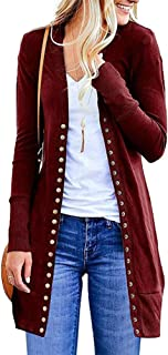 ZiXing Womens Open Front Cable Knit Long Cardigan Warm Coat Pullover Sweater
