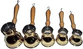 Set 5 Hand Made Egyptian Turkish Classic Arabian Coffee Maker Brass Pots Ibrik