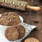 ELECTRI Rouleau à pâtisserie en Bois hêtre gaufrage Rouleau à Biscuits pâte à gâteau Rouleau à pâtisserie de Noël Outil à pâtisserie Cuisine gravé en Relief Décoration de Gâteaux