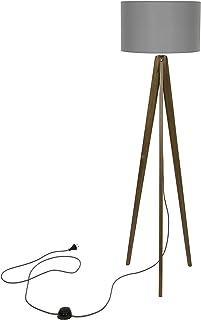 Lampe Holtaz sur Trépied en Bois avec Abat-Jour en Plastique Interrupteur à Pied, en 4 couleurs, Lampe sur Pied pour Burea...
