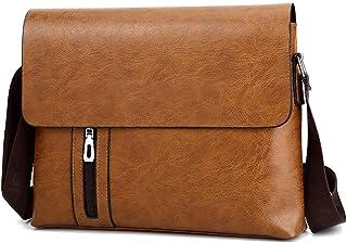 PU Leather Men Messenger Bag, Work Briefcase Shoulder Bag Multi-Pockets Waterproof,Orange