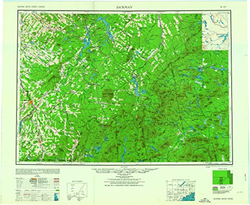 YellowMaps Jackman ME topo map, 1:250000 Scale, 1 X 2 Degree, Historical, 1963, Updated 1963, 24.2 x 29.5 in - Paper