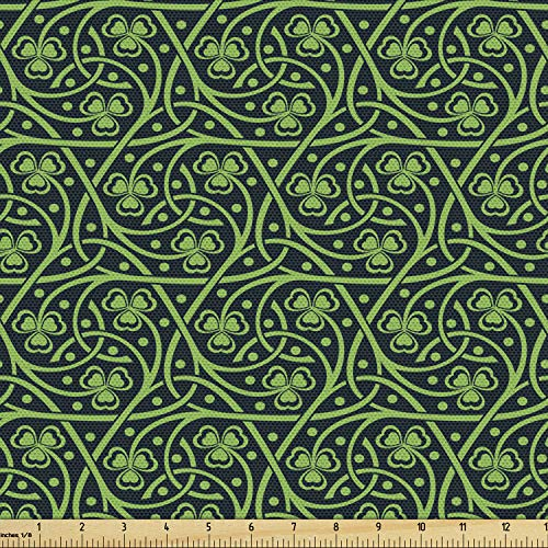 Ambesonne Irish Fabric by The Yard, National Foliage Pattern Intricate Twigs and Dots Trefoil Botanical Abstraction, Decorative Fabric for Upholstery and Home Accents, 1 Yard, Forest Green