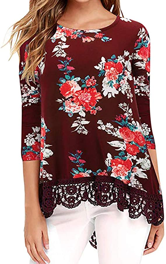 JURTEE Camiseta para Mujer Vintage Elegante Encaje ...