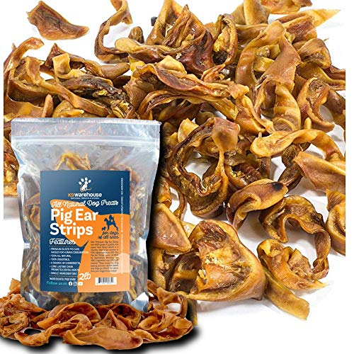 K9warehouse Pig Ear Strips for Dogs | 2 Pounds All Natural Pigs Ears Slivers Dog Chew Treats | Inspected and Packaged in USA | Made of 100% Pure Pork | Alternative to Rawhide Chews | Thick Cut Treat