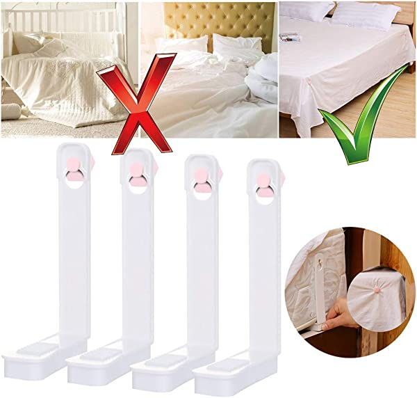 Hot New Bed Sheet Holder Sheet Fasteners Set No Elastic Straps Or Clips Bed Sheet Fastener Gripper Holder Straps Clip For Bed Sheets Fasteners Clips Grippers Clippers 4PC