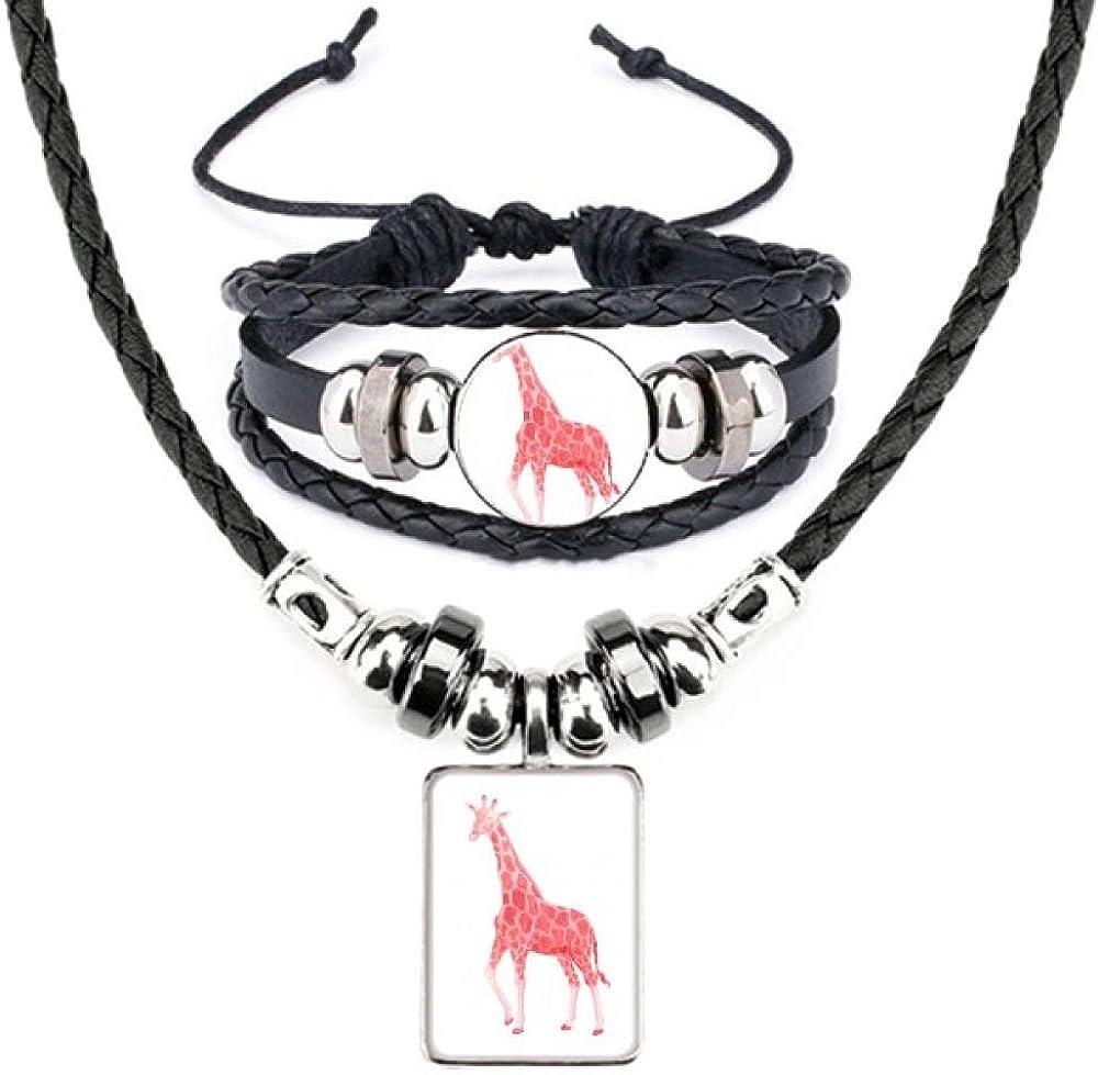 IUCN Endangered Animals Red Giraffe Leather Necklace Bracelet Jewelry Set