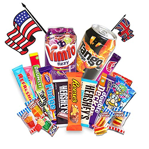 QueenBox® Amerikanische Süßigkeiten Box   USA Kennenlernpaket 11 Teile + kostenlose Goodies - Candy Mix inkl. Getränke – Hersheys – Resses & vielen wechselnden Köstlichkeiten mehr