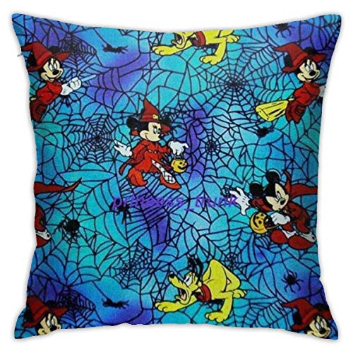 WH-CLA Almohada Cubierta Mago De Halloween Mic-Key Funda Decorativa para Cojín Suave Funda De Almohada para Cojín Elegante Throw Pillow Case para Cumpleaños Familia Sofá S