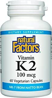 Natural Factors, Vitamin K2 100 mcg, Supports Bone and Vascular Health, 60 capsules (60 servings)
