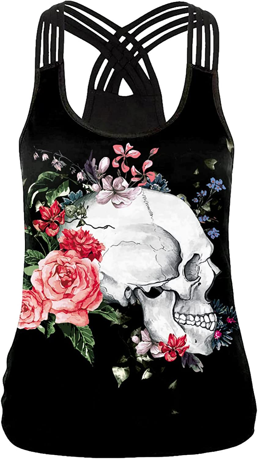 Tpingfe Halloween Tank Tops High order for Co Gothic Directly managed store Women Criss Cross