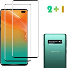[2 Pack] Galaxy S10 Plus Screen Protector Tempered Glass Include a Camera Lens Protector,Glass Screen Protector with 3D Curved HD Clear Full Coverage for Samsung Galaxy S10 Plus