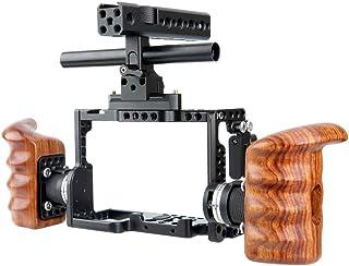 NICEYRIG Kit de Jaula Cage para cámara con Mango de la OTAN Arri estándar Rosette de Madera para Sony A7RIII/A7MIII/A7III/A7RII/A7SII/A7II cámara