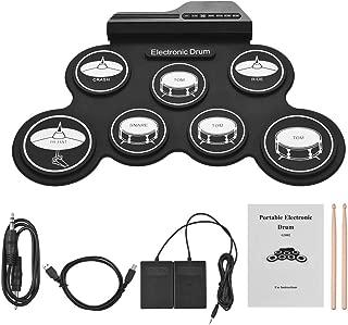 LuYi-Ww Electronic Drum Kit USB Tamaño de Lista Completa de Silicon Digitales compactas 7 Drum Pad con Palillos de Pedales para niños Principiantes, Salida de Dos Canales, Buen Efecto de Sonido