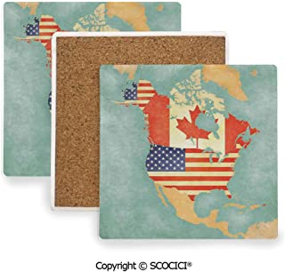 Ceramic Coasters with Cork Base, Prevent Furniture from Dirty and Scratched, Suitable for Kinds of Mugs and Cups,Wanderlust Decor,States and Canada Outline Map of the North,3.9