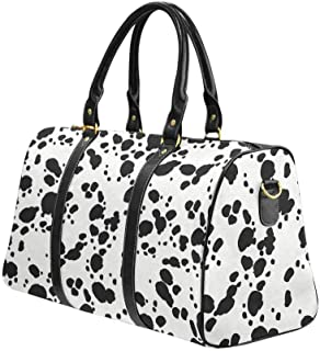 Waterproof Travel Bag Sports Duffel Tote Overnight Bag Animal Print Texture Skins Dalmatians