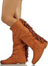 Wild Diva Diva Lounge Women's Starcy Faux Suede Fringe Back Mid-Calf Riding Boot