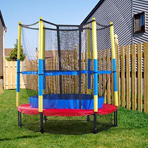 MaxxGarden Trampoline Enfant Ø 140 cm avec Filet de Protection Trampoline Fitness Rond pour Intérieur et...