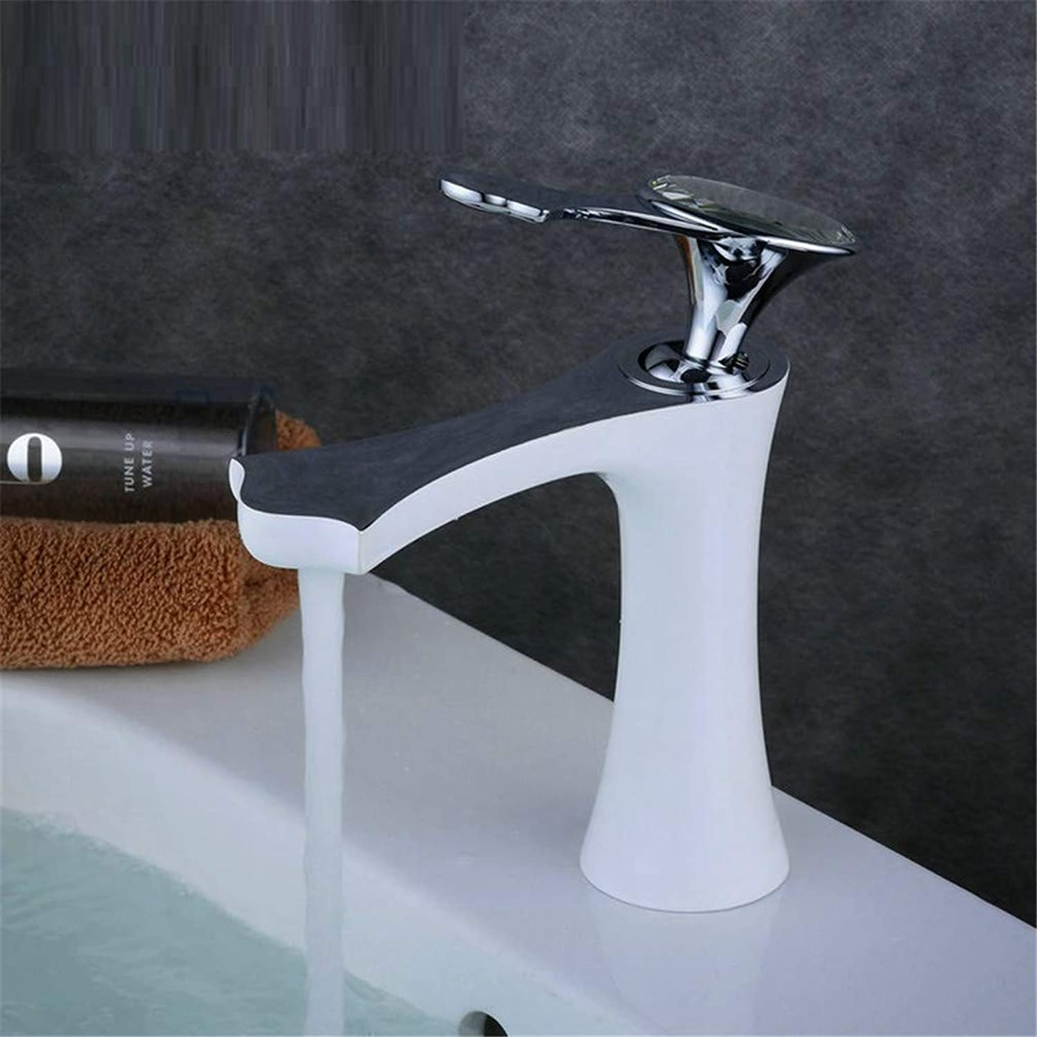 GROHES mixer tap for basin - Stunning Waterfall Bathroom Sink Monoblock Mixer Faucet Black and Chrome Handle,gold- white,White