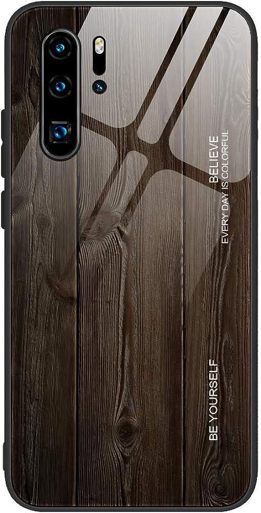 P30 Pro H/ülle kompatibel mit Huawei P30 Pro H/ülle UltraD/ünn Holzmaserung Gradien 9H Geh/ärtetes Glass Harte PC Handyh/ülle Gesch/äfts Stil Spiegel Schutzh/ülle Anti-Rutsch Hardcase