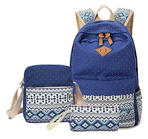 Greeniris 3 Stück Set Groß Rucksäcke Damen Schulrucksack Mädchen zum College Schule Saphirblau
