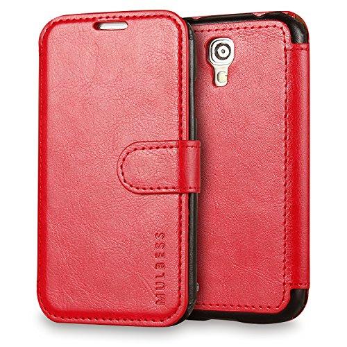 Mulbess Handyhülle für Samsung Galaxy S5 Mini Hülle Leder, Samsung Galaxy S5 Mini Handy Hüllen, Layered Flip Handytasche Schutzhülle für Samsung Galaxy S5 Mini Case, Wein Rot