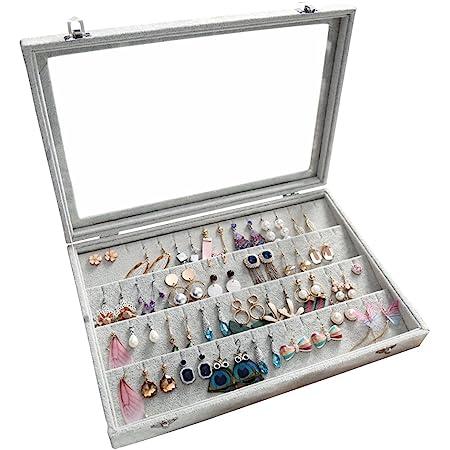 Wuligirl Velvet Clear Lid Earring Box Organizer Storage 55 Pairs Earrings Stud Tray Showcase Display Case