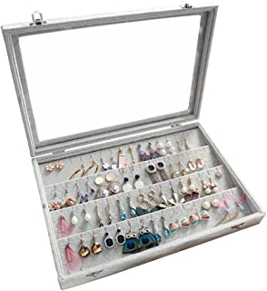 Wuligirl Clear Lid Earrings Organizer Holder Velvet Jewelry Tray Display Showcase Storage 32 Pairs Earring Box Case Lockable(Earrings Box)
