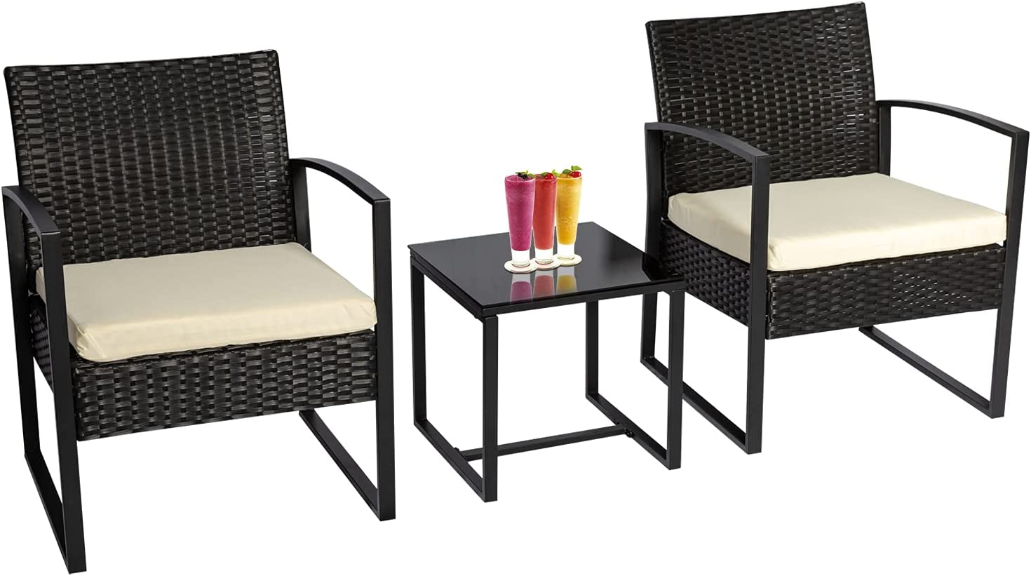 3 Pieces Cheap mail order specialty store Bistro Set Omaha Mall Outdoor Wicker Furniture Patio Sets Rattan