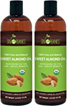 Sky Organics 100% Pure & Natural Moisturizing Sweet Almond Oil for Hair and Skin Massage, 1 lb. (Pack of 2)