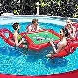 AJH Lifebuoy Float Colchón Inflable Juguete Inflable Mesa de póker Flotante y 4 sillas para Camas acuáticas y Juguetes de natación Gameso