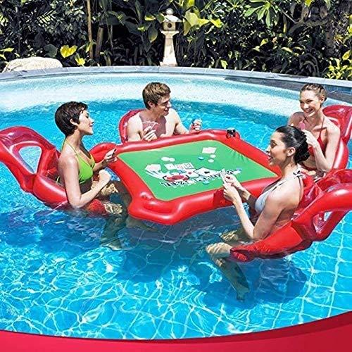 Zomer draagbare reddingsboei drijven opblaasbaar matras speelgoed opblaasbare drijvende pokertafel en 4 stoelen voor waterbedden en zwemmen speelgoed gameso